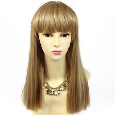 Sexy Heat Resistant Red,Black,Brown,Blonde Long Skin Top BANGS Wig