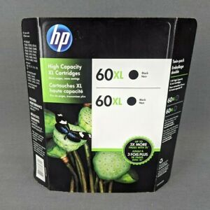 Genuine HP 60XL Black Ink 2-Pack XL High Yield Cartridges EXPIRED October 2016