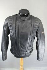 CLASSIC AKITO BLACK LEATHER BIKER JACKET + REMOVABLE CE BODYGUARD ARMOUR 42 INCH