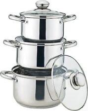 3Pcs Saucepan Induction Stock Pot Casserole Pot Cookware Pan Set With Glass Lid