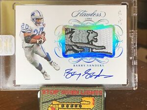 Barry Sanders 2019 Flawless encased 1/1 Auto with🔥Blue and Gray Lion Patch🔥