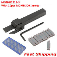 10X MGMN300 Insert + MGEHR1212-3 Lathe Cut-Off Grooving Parting Tool Holder