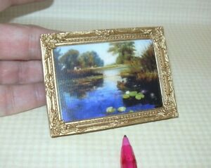 Miniature Falcon Dollhouse Picture (#10) in Elegant Gold Frame: DOLLHOUSE 1:12