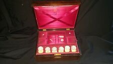 Antique Rosewood Sewing Box Named Dated 1849 Plus Six Mother of Pearl Reels etc