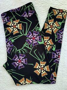 LuLaRoe Leggings TC2 Disney NBC Angry Jack Skellington Multi-Color Flowers Black