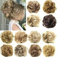 As Real Human Hair Extension Wrap Messy Hair Bun Curly Ponytail Hairpiece AU