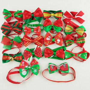 10-100pcs Christmas Dog Bowties Pet Bow Ties Holidays Adjustable Collar Grooming