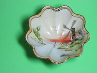 Vintage Hand Painted Fluted Footed Dish Windmill Scene Made in Japan Very Good