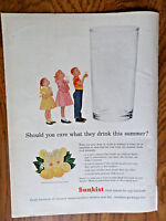 1956 Sunkist Fresh Lemons Ad Should you Care What they Drink this Summer?