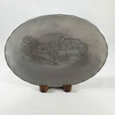 Wendell August Forge Hand Hammered Aluminum Horse & Buggy Oval Plate With Stand