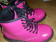 kids dr marten boots patent pink size 9 very good condition used