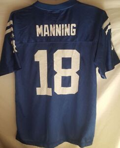 Indianapolis Colts # 18 Peyton Manning Home Blue Jersey Youth XL 18-20 Used Nice