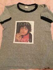 Vintage 1970s the Beatles John Lennon t-shirt tee grey ringer Sz Med