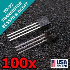 100pcs 50 Pair BC547/BC557 TO-92 45V 0.1A Transistors US Seller FAST Shipping