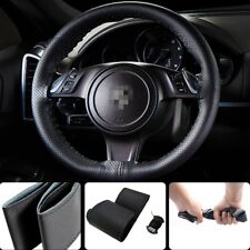 1x 36cm14'' Car Steering Wheel Cover Leather with Needle Thread Black Size S