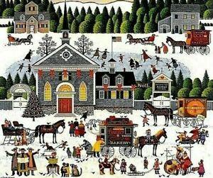 "Charles Wysocki Churchyard Christmas Print S & N With Cert Image Size 15 3/8""x18"