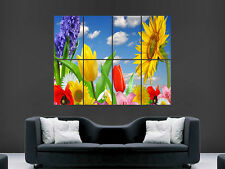 SPRING FLOWERS SUNFLOWER TULIPS  ART WALL LARGE IMAGE GIANT POSTER