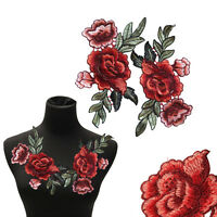 2Pcs/Set Rose Flower Patch Floral Embroidered Applique Patches Sew on For DIY FT