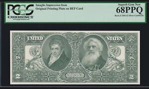 BEP Intaglio 1891 $2 Education Silver Certificate Reverse PCGS 68 PPQ Sup Gem CU