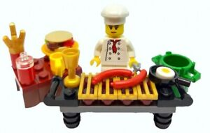 LEGO Female Chef Minifigure, BBQ, Food and Accessories
