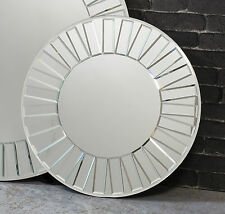"Mondello Bevelled Mosaic Glass Frame Round Venetian Glass Wall Mirror 24"" Diam"