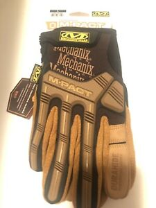 Leather M-Pact Gloves - Brown - Large