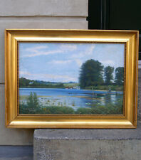 Fine Danish salon painting. Emdrup Lake in Copenhagen. Signed and dated 1915.