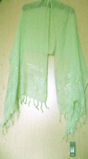 "BNWT $118 Eileen Fisher Sequined Stripes Linen PALE LEAF Wrap Scarf 80""X 25"""