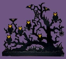 Owls & Bats w/ Lighted Eyes On Spooky Tree Tabletop Halloween Decoration