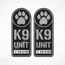 K9 Unit Badge Sticker Set Vinyl Decal Gun Metal Dog Paw Police Law Enforcement