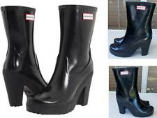 "Rare Hunter Arnie Black 4"" Heel Rubber Rain Boots US10 EU42 UK8 EUC Gummistiefel"