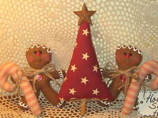 Handmade Prim Christmas fabric tree Gingerbread candy canes bowl fillers Decor