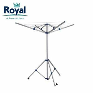 Royal 4 Arm Portable Caravan Camping Rotary Airer Aluminium WITH Pegging Points