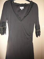Karen Millen Brown Half Sleeve A-Line Lace & Ribbon Side Ruched Dress 10