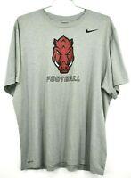 Nike Mens Dri Fit Arkansas Razorbacks Football Grey Short Sleeve Shirt Size 2XL