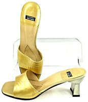 Stuart Weitzman Sandal Slide Women's 8B Gold Patent Slip On Mule Heel Shoe Spain