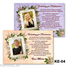 25 St. Invitation Cards, Photo Cards for communion confirmation with photos + Envelope