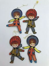 Vintage Made in Japan Christmas Ornaments Jointed Cardboard Children Set of 4
