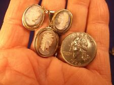 Beautiful Matching Set Of 800 Sterling Silver Cameo Earrings, Pendant, Necklace