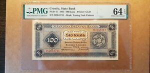CROATIA INDENPENDENT STATE 100 KUNA 1943 PMG 64 EPQ