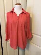 Moon Collection Watermelon Pink Sheer Blouse Size XL 3/4 Sleeve