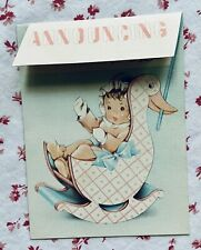 Vintage Mid Century Cute Baby Birth Announcement Rocking Duck Greeting Card