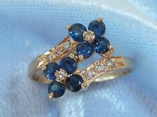 14K Yellow Gold Ring, 8, 2.6mm Natural Sapphires,  8, 1.5mm Diamonds, Size 6.5