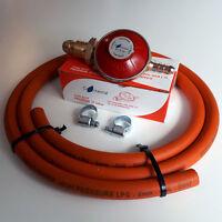 PROPANE GAS REGULATOR + HIGH PRESSURE HOSE & CLIPS