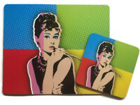 Audrey Hepburn Pop Art Gift Mouse Mat & Coaster Set Breakfast At Tiffanys New UK