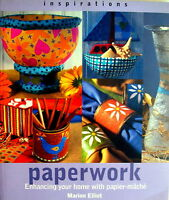 Craft Book - PAPERWORK - papier-mache by Marion Elliot Bowl Vase Plate Pot Bin +