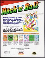 ROCK 'n'BALL__Original 1989 Trade print AD_game promo__NTVIC / Nintendo__Pinball