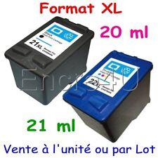 Cartouches compatibles remanufacturées HP 21 XL et HP 22 XL ( Noir / Couleurs )