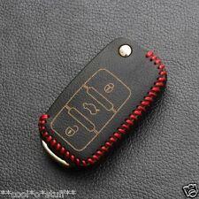 244A- LEATHER Black Key Chain Cover VW VOLKSWAGEN POLO VENTO JETTA Remote GTI