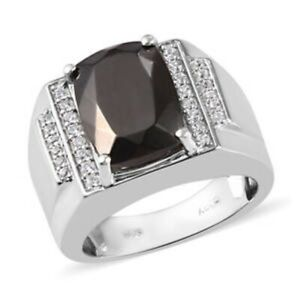Elite Shungite & Zircon Men's Ring in Platinum Over 925 SS, Size 12, 3.53 ctw.
